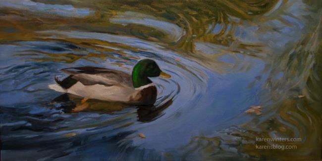 Art: Mallard Duck Swimming Painting - Huntington Gardens by Artist Karen Winters