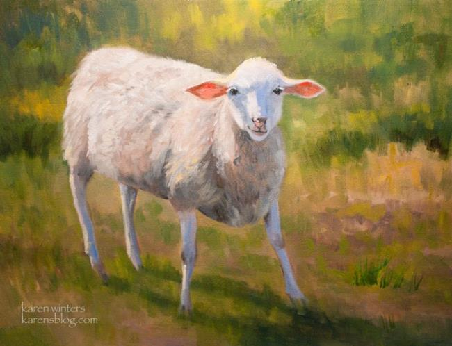 Art: The yearling lamb - SOLD - Animal portrait painting by Artist Karen Winters