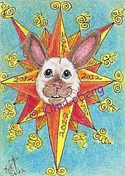 Art: 2012 Solar Flare Sun Bunny - SOLD by Artist Kim Loberg