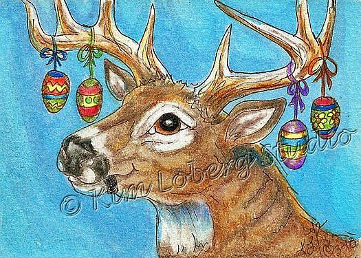 Art: White Tail Buck & Eggs by Artist Kim Loberg