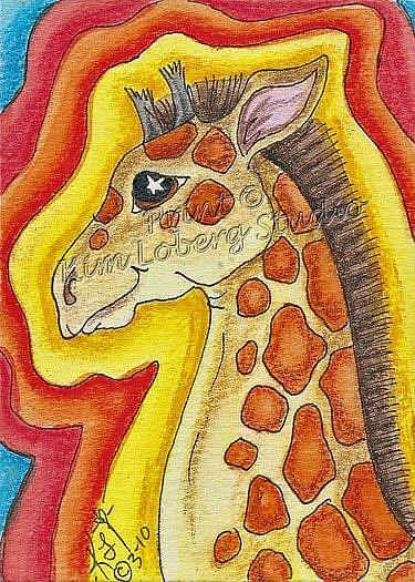 Art: Funky Giraffe by Artist Kim Loberg