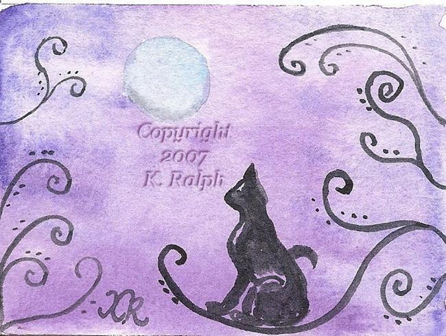 Art: Silver Moon Cat - Sold by Artist Kathleen Ralph