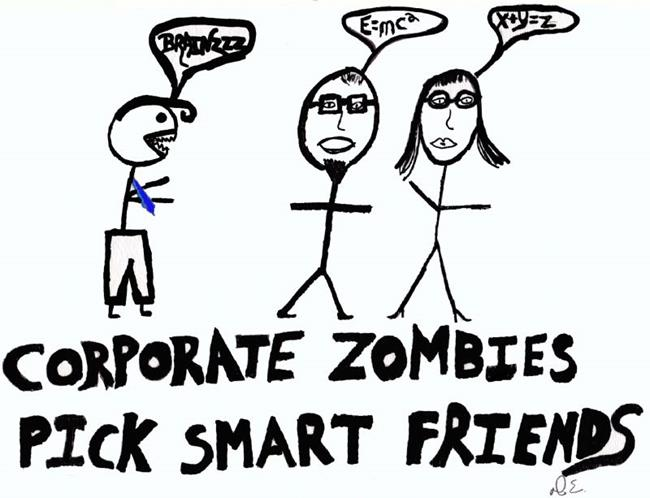 Art: Corporate Zombies Pick Smart Friends by Artist Dorothy Edwards
