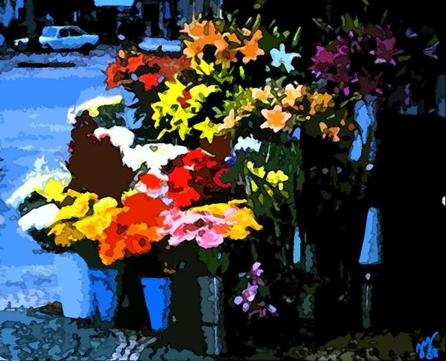 Art: Lisbon Flower Market 2005 by Artist Joan Hall Johnston