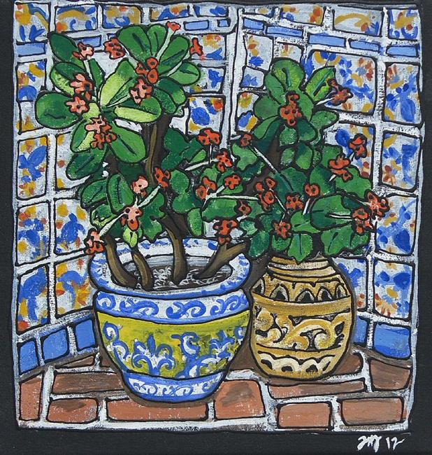 Art: Casa de Feliz inside courtyard by Artist Joan Hall Johnston