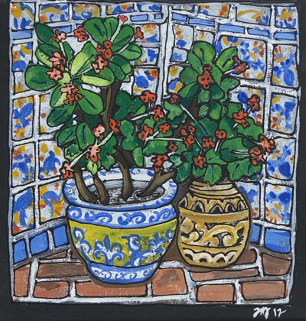 Art: Casa de Feliz inside courtyard by Artist Joan Hall Johnston