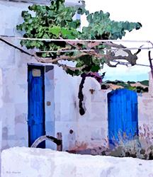 Art: Blue Doors and Grape Vine by Deanne Flouton