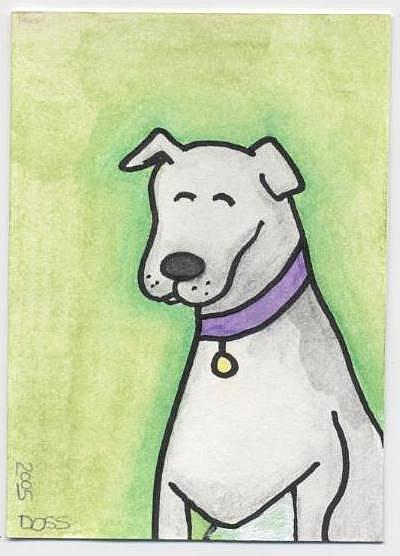 Art: Bowlegged Dog ACEO by Artist Jenny Doss