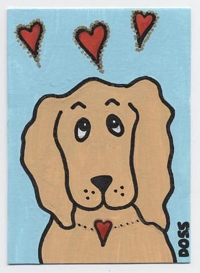 Art: Spaniel in Love ACEO by Artist Jenny Doss