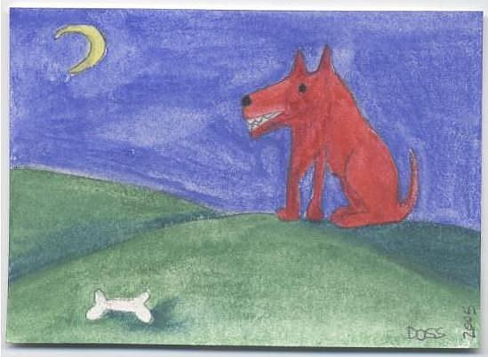 Art: Red Dog Eyes a Bone ACEO by Artist Jenny Doss