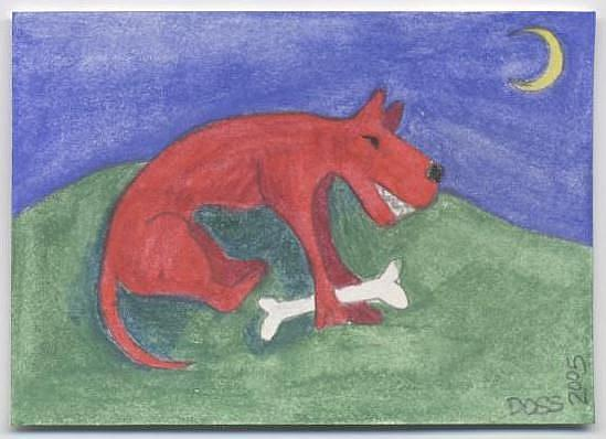 Art: Red Dog Gets His Bone ACEO by Artist Jenny Doss