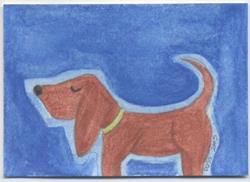 Art: Hot Dog ACEO by Artist Jenny Doss