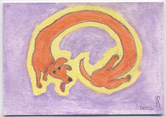 Art: Crazy Wiener ACEO by Artist Jenny Doss