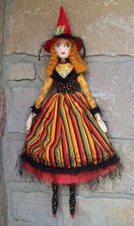 Art: Tarot Card Witch Art Doll by Artist Lisa M. Nelson