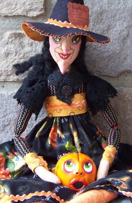 Art: Macabre Witch and Pumpkin Art Doll by Artist Lisa M. Nelson
