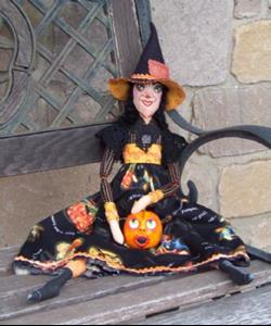 Detail Image for art Macabre Witch and Pumpkin Art Doll