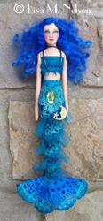 Art: Nocturn a Prim Cloth Mermaid Art Doll by Artist Lisa M. Nelson