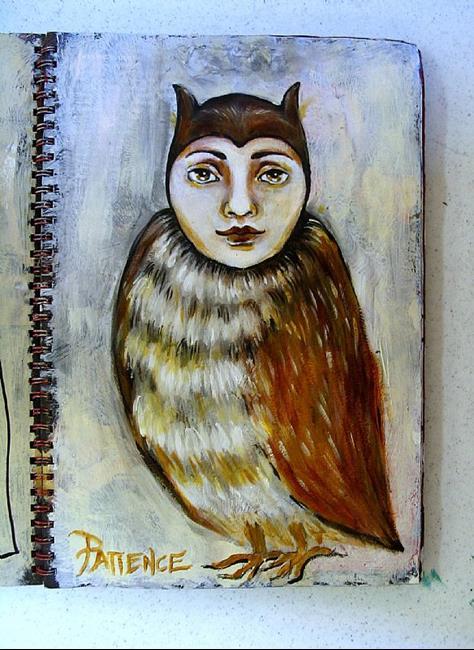 Art: 'Owlie': An Art Journal Entry by Artist Patience