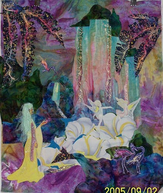Art: Fairyland waterfall quilt by Artist Karin Elizabeth Weiss