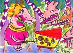 Art: Hungry Lady Fighting For Cheese by Artist Elisa Vegliante