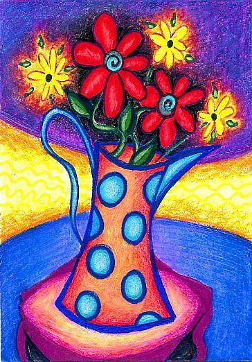 Art: Polka Dot Pitcher by Artist Christine Wasankari
