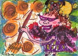 Art: Self-Portrait In Boa And Reading Glasses Sweeping Pug Hair by Artist Elisa Vegliante