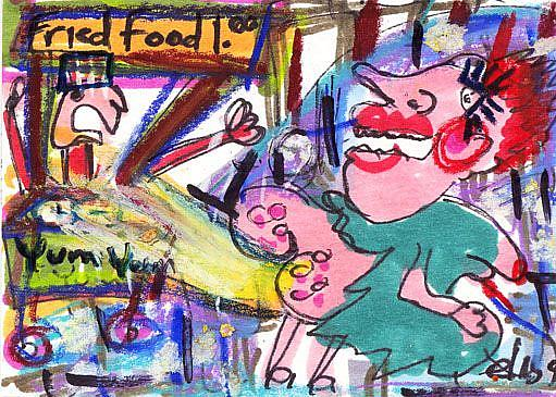 Art: Smelly Witch Defending Herself Against Fast Food Vendors by Artist Elisa Vegliante