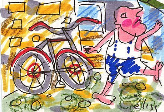 Art: Big Bicycle Get-Away by Artist Elisa Vegliante