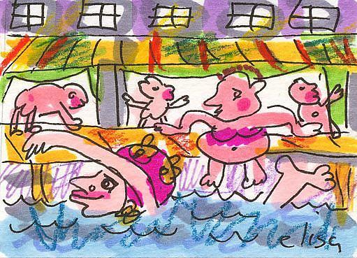 Art: Swimming In The River by Artist Elisa Vegliante