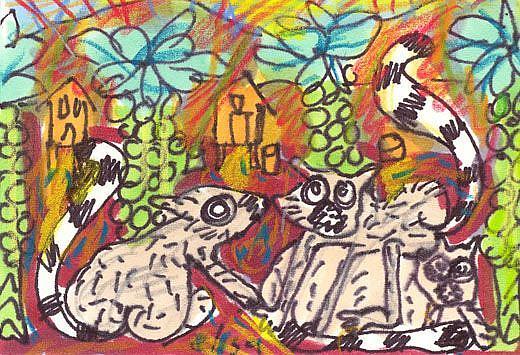 Art: Lemurs In A Brussel Sprout Field by Artist Elisa Vegliante
