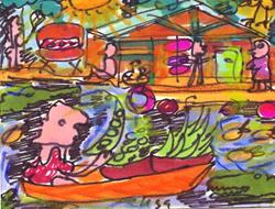 Art: Shelling Snap Peas On The Bayou by Artist Elisa Vegliante