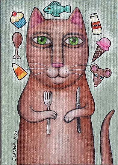 Art: Cat Dreams of Dinner by Artist Valerie Jeanne