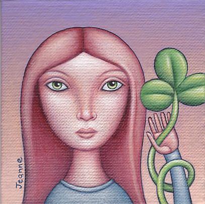 Art: Shamrock Girl by Artist Valerie Jeanne