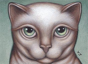 Art: Kitty Green Eyes by Artist Valerie Jeanne
