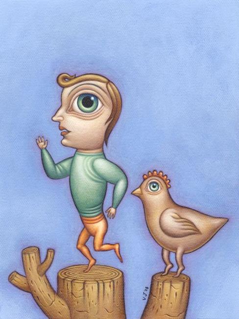 Art: My Chicken Friend by Artist Valerie Jeanne
