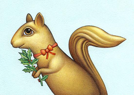 Art: Christmas Squirrel by Artist Valerie Jeanne