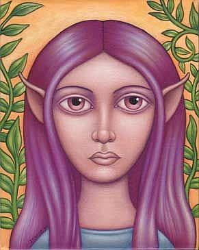 Art: Fairy with Violet Hair by Artist Valerie Jeanne