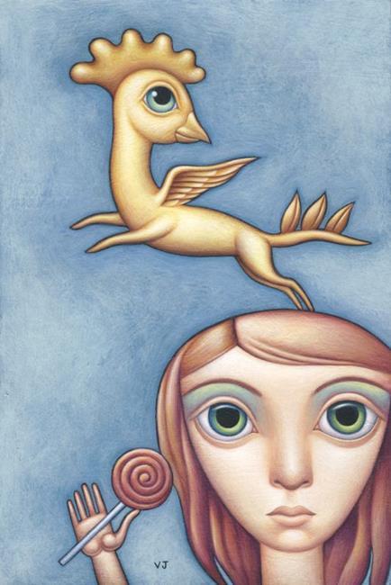 Art: Chicken To Ride by Artist Valerie Jeanne
