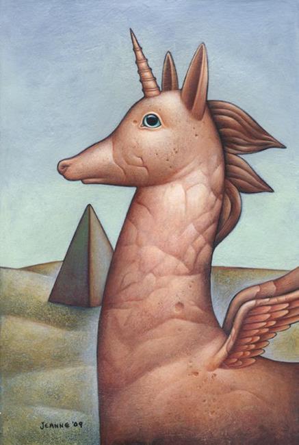 Art: The Legendary Flying Unicorn Anubis Dog of Egypt by Artist Valerie Jeanne