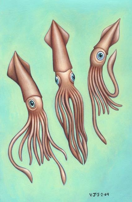 Art: Squids by Artist Valerie Jeanne