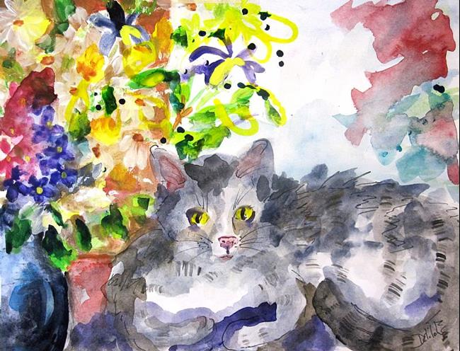 Art: Cat and Flowers by Artist Delilah Smith