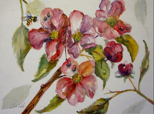 Art: Apple Blossom and Bee by Artist Delilah Smith