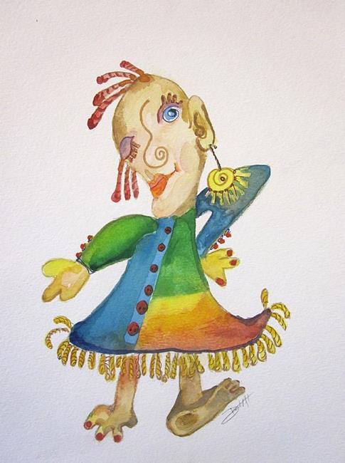 Art: Girl with Fringe-sold by Artist Delilah Smith