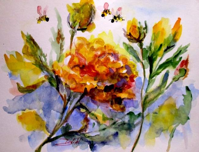Art: Yellow Rose and Bee by Artist Delilah Smith