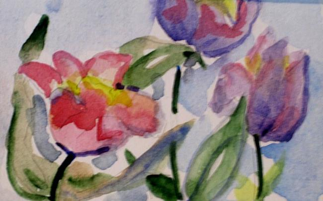 Art: Pink and Purple Tulips Aceo by Artist Delilah Smith