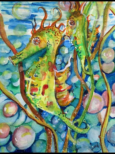 Art: seahorses by Artist Delilah Smith