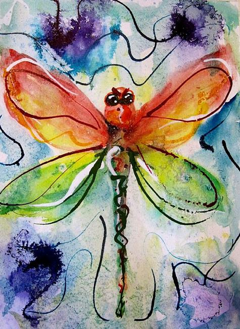 Art: Christmas Dragonfly by Artist Delilah Smith
