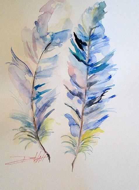 Art: Blue Jay Feather by Artist Delilah Smith