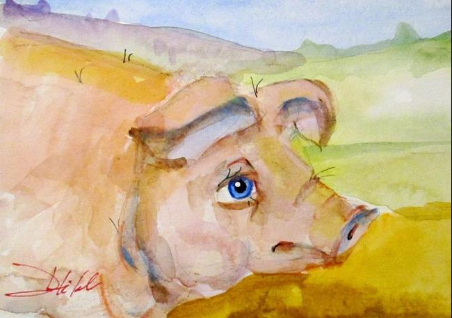 Art: Blue Eyed Pig by Artist Delilah Smith