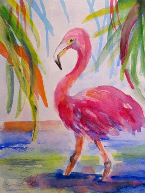 Art: Wading Flamingo by Artist Delilah Smith